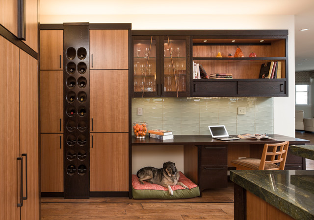 emtek hardware Kitchen Modern with custom carpentry dark wood