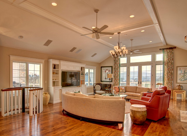 Entertainment Centers for Flat Screen Tvs Family Room Eclectic with Beige Ceiling Beige Railing