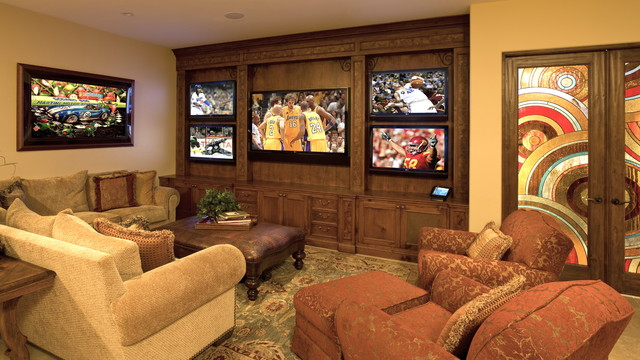 Entertainment Centers for Flat Screen Tvs Home Theater Mediterranean with Armchair Big Screen Built