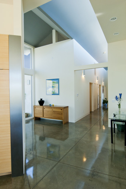 Entry Door with Sidelights Entry Modern with Bamboo Concrete Floors Credenza