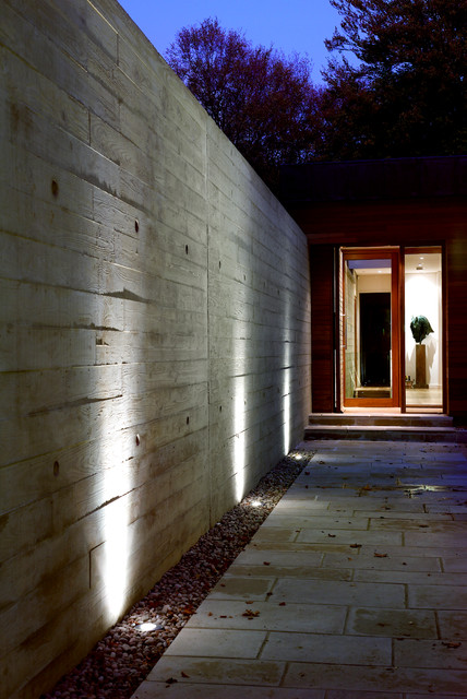 Entry Door with Sidelights Entry Modern with Board Formed Concrete External