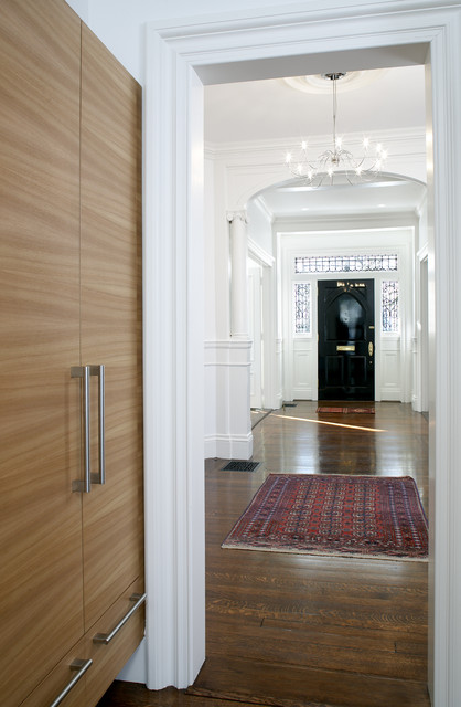 Entry Door with Sidelights Hall Transitional with Area Rug Black Door