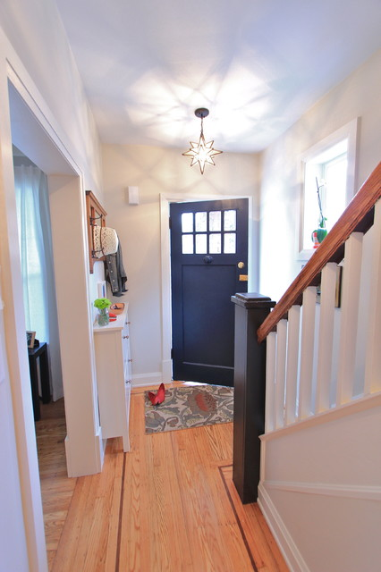 Entryway Shoe Storage Entry Eclectic with Beige Railing Beige Stair