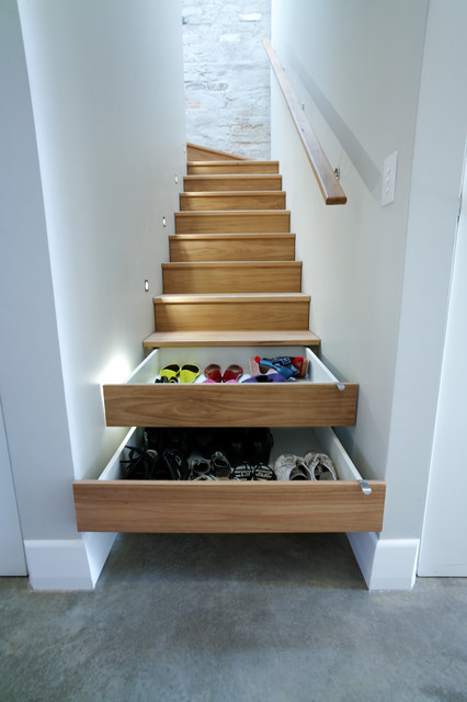 Entryway Shoe Storage Staircase Contemporary with Concrete Floor Heated Floor