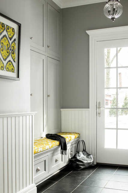 Entryway Storage Bench Entry Traditional with Beadboard Wainscoting Built In