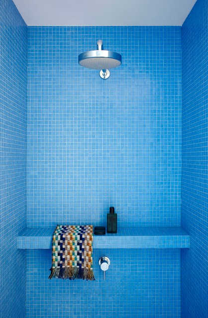 Epoxy Grout Bathroom Modern with Bench Blue Colorful Mosaic