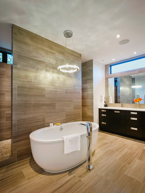 Eternity Flooring Bathroom Contemporary with Antique Travertine Honed Tile