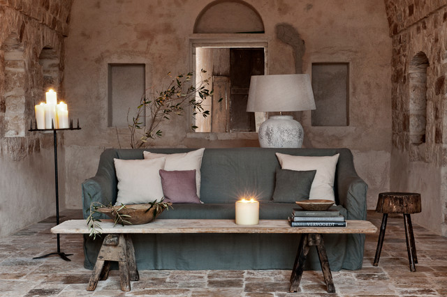 Eternity Flooring Living Room Mediterranean with Aged Stone Floor Candle
