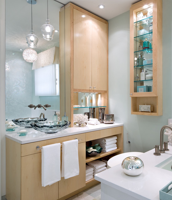 eureka lighting Bathroom Contemporary with aqua wall Bath Accessories