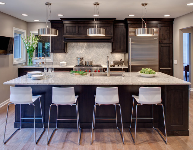 Eurofase Lighting Kitchen Contemporary with Dark Cabinetry Full Height Granite