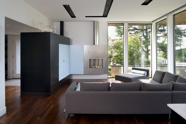 Eurofase Lighting Living Room Modern with Black Cabinets Blue Bright