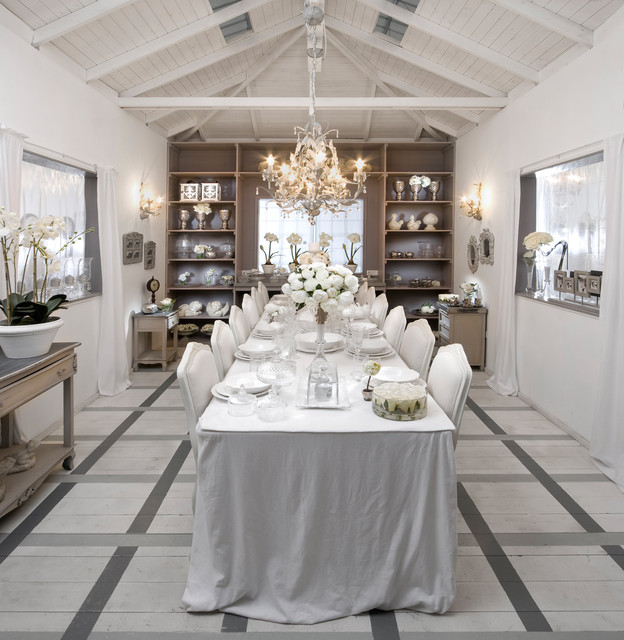 Expandable Dining Table Dining Room Shabby Chic with Beams Chandelier Exposed Ceiling