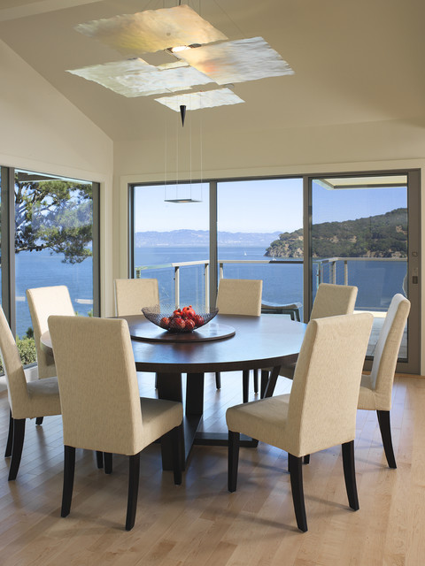 Expandable Round Dining Table Dining Room Contemporary with Architect and Designer Balcony