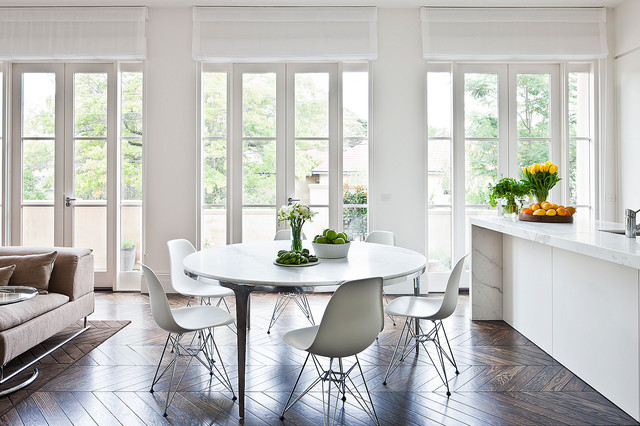 Expandable Round Dining Table Dining Room Contemporary with Glass Door Herringbone Floor