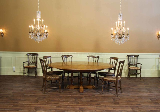 Expandable Round Dining Table Dining Room Rustic with Chandelier Dining Room Dining