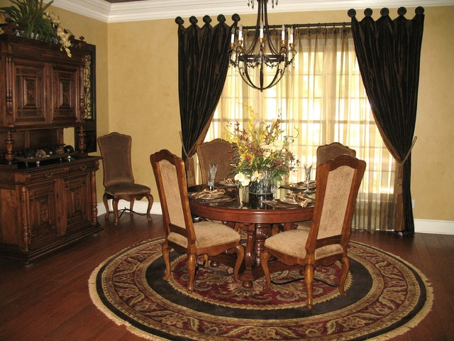 Expandable Round Dining Table Dining Room Traditional with Faux Finish Tuscan