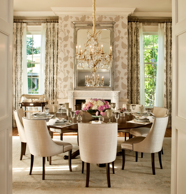 Expandable Round Dining Table Dining Room Transitional with Crown Molding Curtain Fireplace