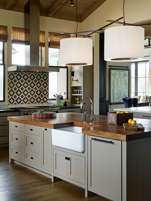 exquisite surfaces Kitchen Transitional with bamboo shades black and