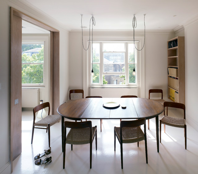 Extendable Table Dining Room Contemporary with Exposed Light Bulbs Extending