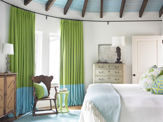 Extra Long Curtain Rods Bedroom Beach with Bed Blue Blue Drapes