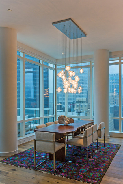 fake grass rug Dining Room Contemporary with chandelier city views colorful