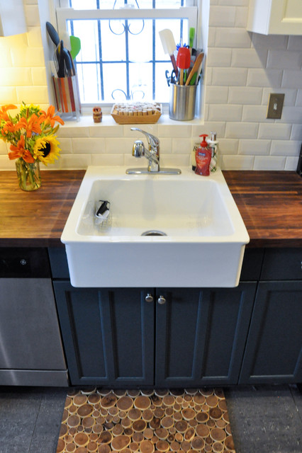 Farm Sink Ikea Kitchen Contemporary with Black Cabinets Branch Mat