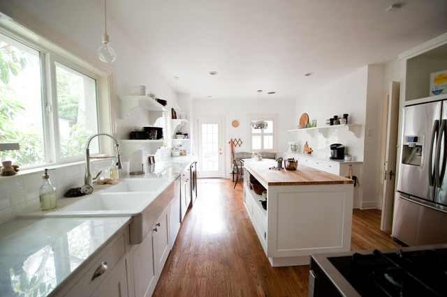 Farm Sink Ikea Kitchen Traditional with Bulb Pendant Light Butcher