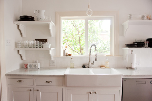 farmhouse sink ikea Kitchen Traditional with bulb pendant light carrera