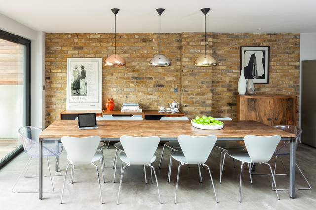 faux brick panels Dining Room Contemporary with Annie Hall dining table