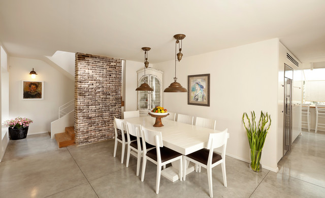 Faux Brick Panels Dining Room Contemporary with Brick Wall Concrete Flooring