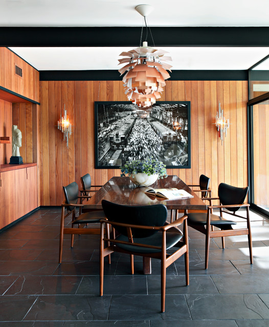 Faux Brick Panels Dining Room Midcentury with Art Niche Contrast Dining