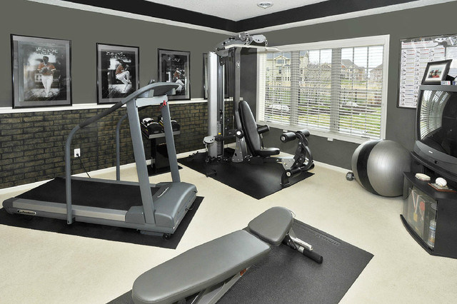 Faux Brick Panels Home Gym Contemporary with Brick Panelling Suede Paint