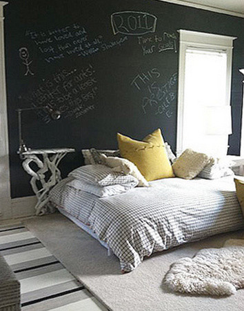 Faux Sheepskin Rug Bedroom Eclectic with Art Black Wall Chalkboard