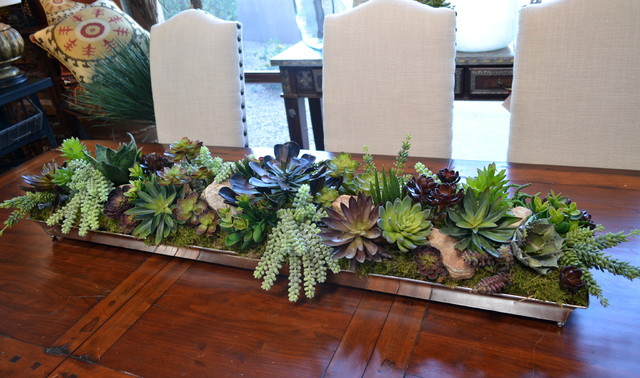 Faux Succulents Dining Room Rustic with African Daybed Eclectic Eclectic