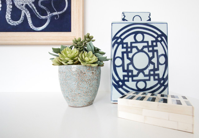 Faux Succulents Family Room Beach with Asian Inspired Beach Decor