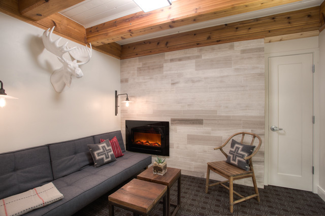 Faux Taxidermy Basement Rustic with Accent Wall Carpet Exposed
