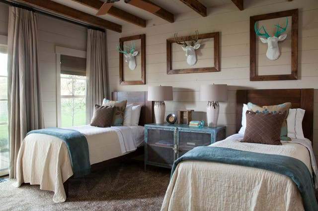 Faux Taxidermy Bedroom Rustic with Animal Printed Carpets Blue