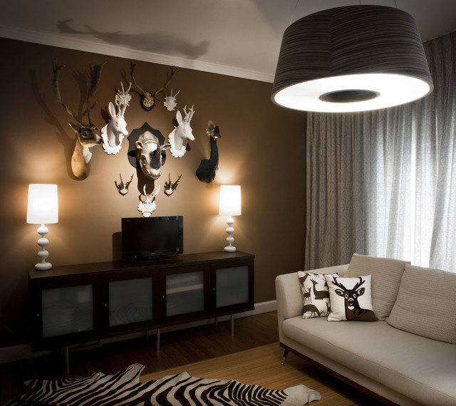 Faux Taxidermy Family Room Contemporary with Animal Bust Animal Prints