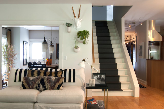 Faux Taxidermy Living Room Eclectic with Black and White Staircase