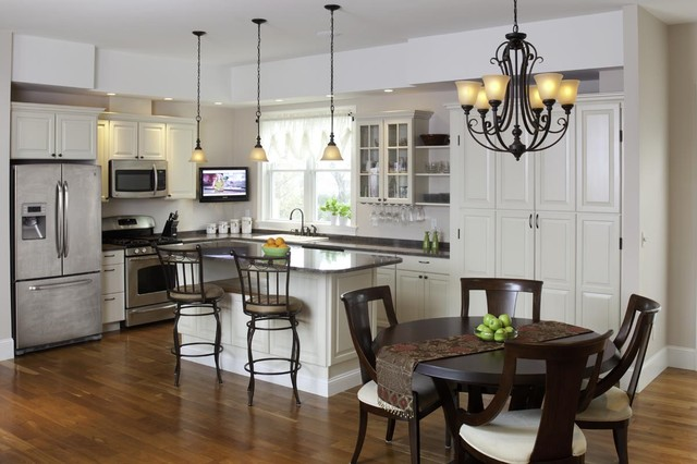 feiss lighting Kitchen Traditional with baseboards breakfast bar ceiling