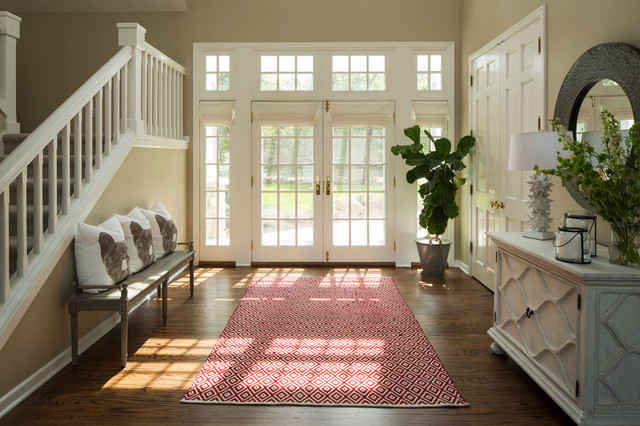 Feizy Rugs Entry Traditional with Americana Bench Blue Console