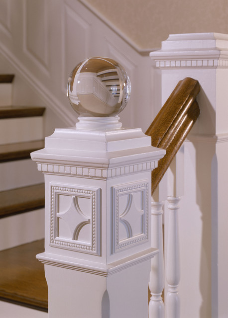 Finials Staircase Traditional with Newel Post White Railings