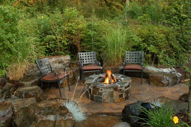 Fire Pit Kits Patio Traditional with Boulders Built in Fire Pit