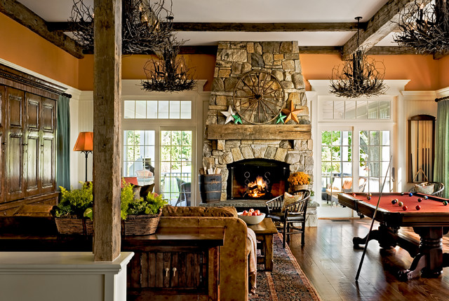 fireplace mantel ideas Family Room Traditional with aged beams chandelier coffered
