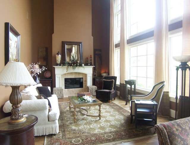 Fireplace Mantel Ideas Living Room Traditional with Area Rug Curtains Custom