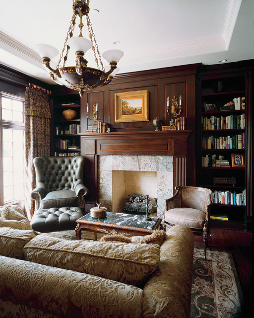 Fireplace Mantel Ideas Living Room Victorian with Armchair Bookcase Bookcases Coffee