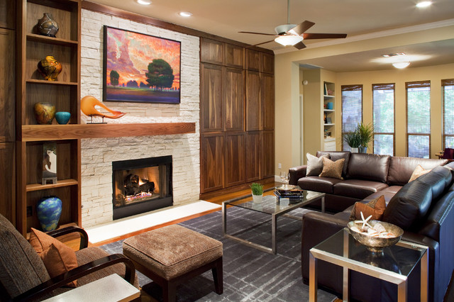 Fireplace Mantels Living Room Contemporary with Area Rug Built In