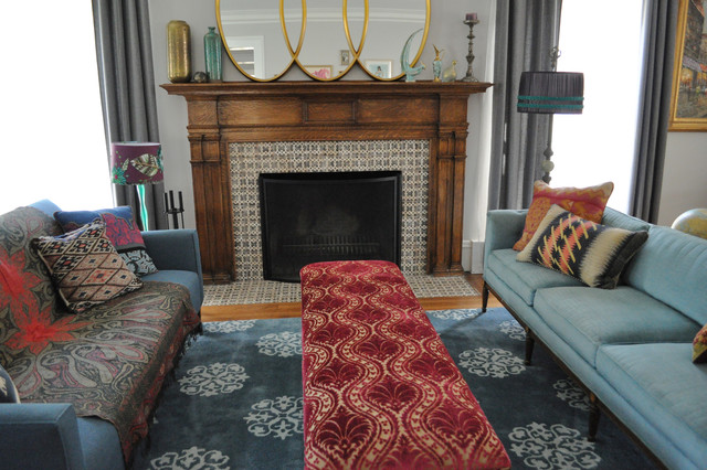 Fireplace Mantles Living Room Eclectic with Area Rug Curtains Decorative