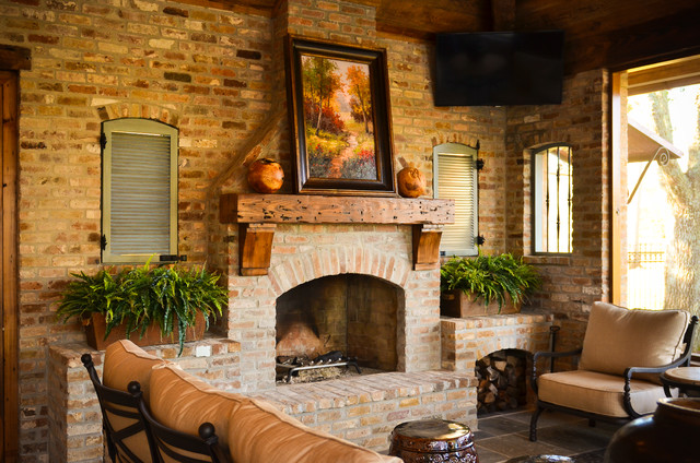 fireplace mantles Patio Rustic with backsplash brick fireplace Fireplace