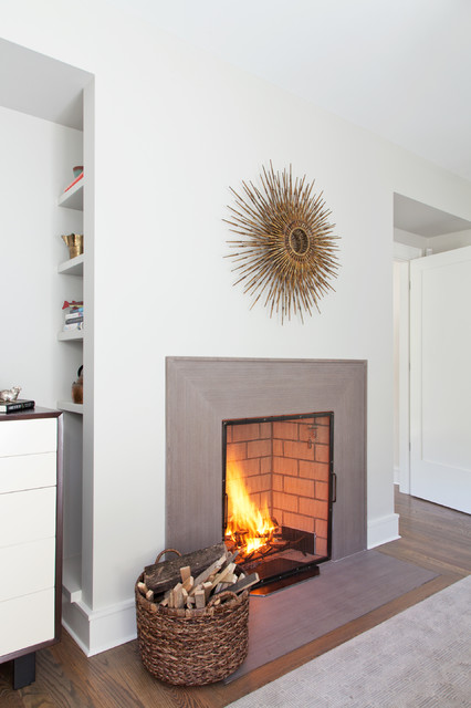 Fireplace Surround Ideas Living Room Contemporary with Area Rug Built in Storage